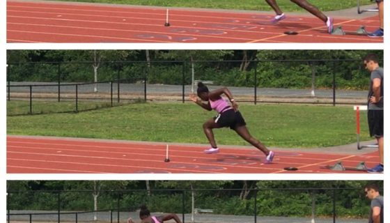 Hurdler executing a tape drill to hurdle 1